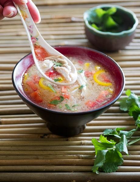 Easy Thai Hot and Sour Chicken Soup Recipe on BestRecipeBox.com