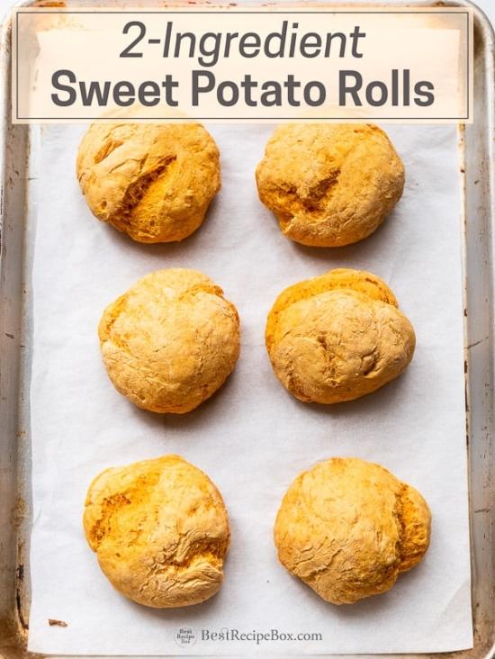 2-Ingredient Sweet Potato Rolls recipe for no yeast bread on baking sheet pan