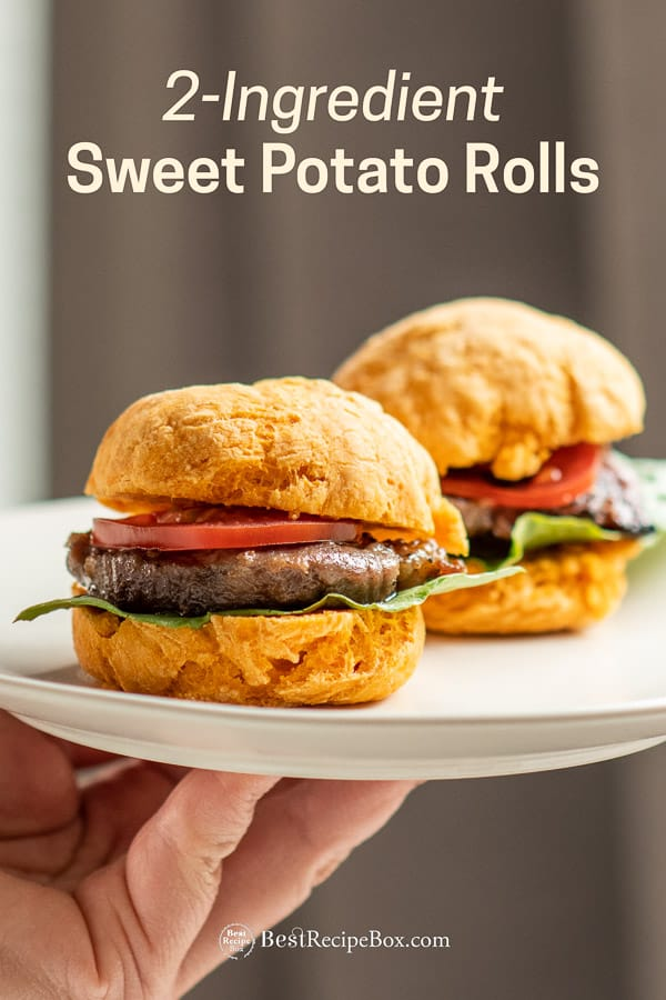 2-Ingredient Sweet Potato Rolls recipe for no yeast bread on plate