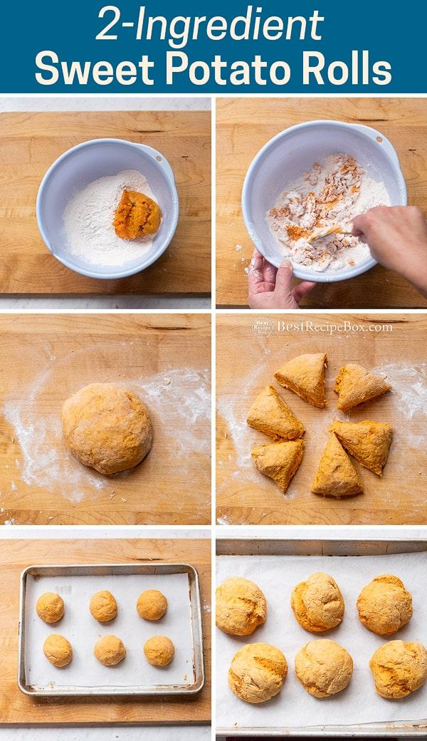 2-Ingredient Sweet Potato Rolls Recipe Bread No Yeast step by step