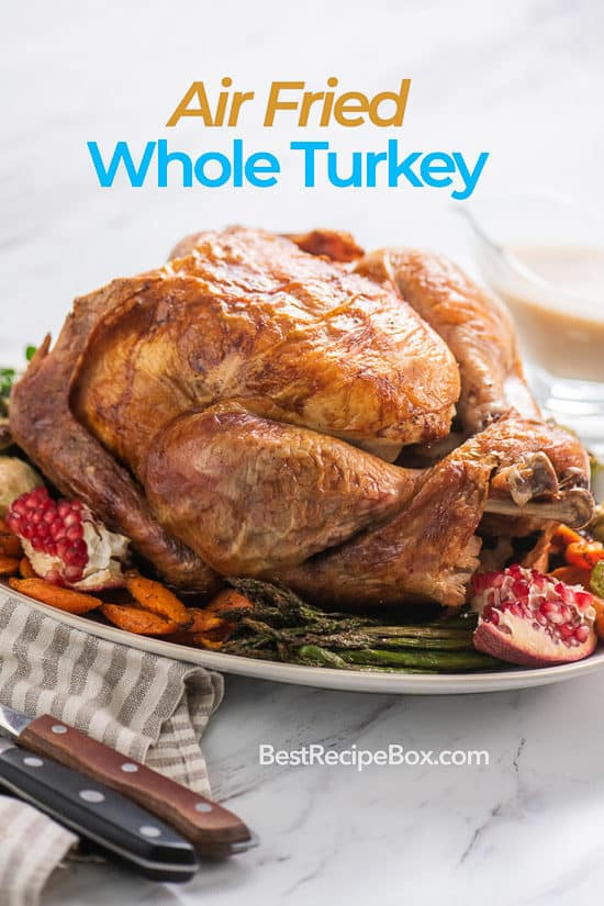 Air Fried Whole Turkey Recipe in Air Fryer for Thanksgiving on a plate