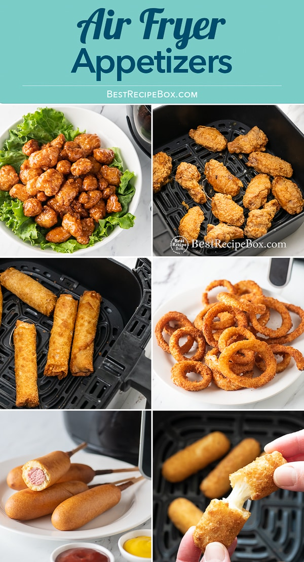 French fries, onion rings and other appetizers cooked in the air fryer from bestrecipebox.com