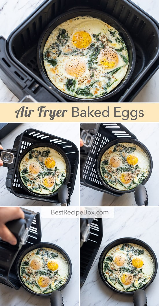 Easy Air Fried Baked Eggs Recipe in Air Fryer for Breakfast Brunch | @bestrecipebox