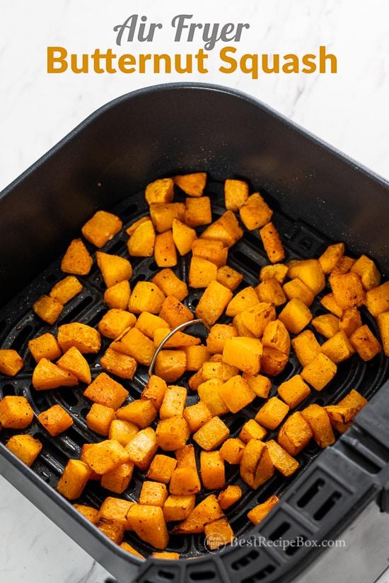 Air Fryer Butternut Squash Recipe Healthy in basket