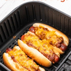Air Fryer Chili Cheese Dogs Recipe in a basket