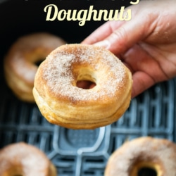 Air Fryer Cinnamon Doughnuts hand held