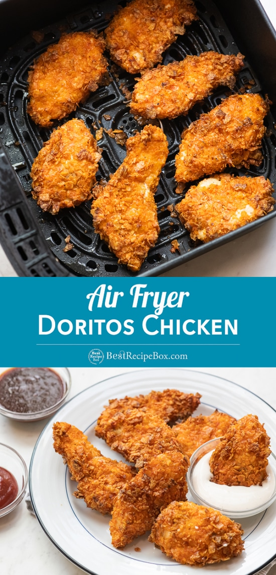 Air Fryer Doritos Crusted Chicken Strips Recipe in basket or on plate dip in ranch