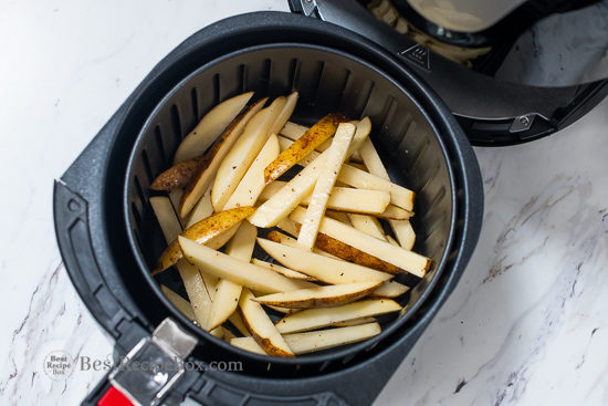 uncooked fries in the air fryer