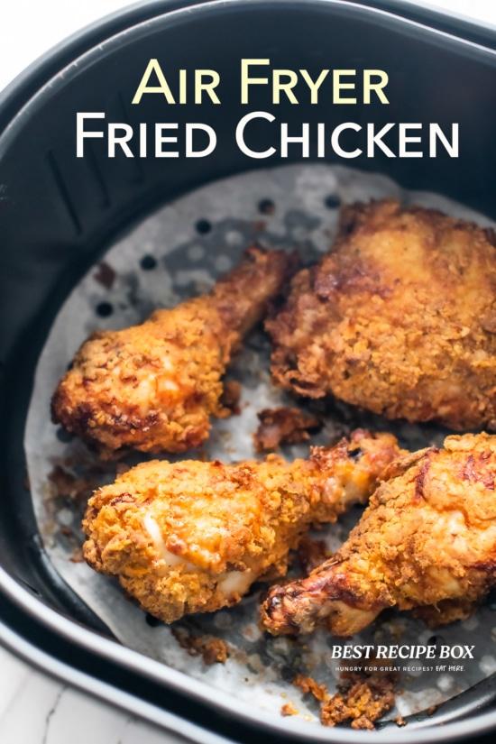 Air fryer fried chicken in basket