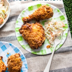 Air Fryer Fried Chicken on Plate with Slaw