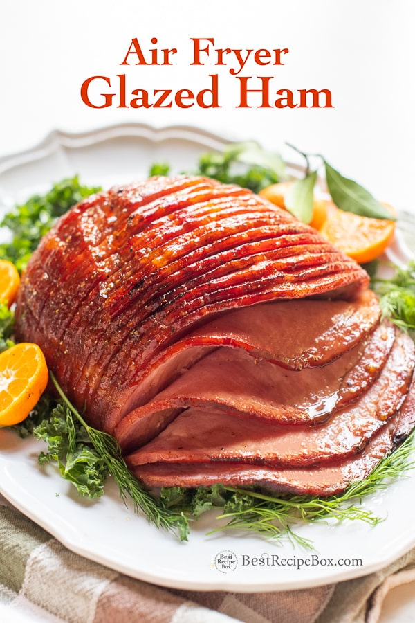Air Fryer Ham with Brown Sugar Glaze on plate