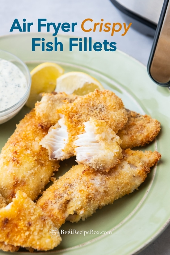 Air Fryer Homemade Fish Fillets Recipe on plate