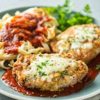 Air Fryer Italian Pork Chop Parmesan Recipe is an Easy Crusted Pork Parmesan @BestRecipeBox