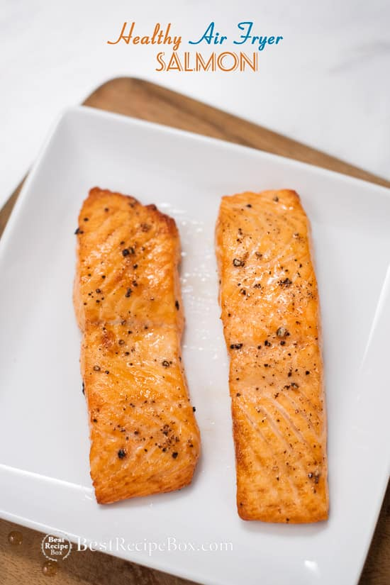 Healthy Air Fried Salmon Recipe on a plate