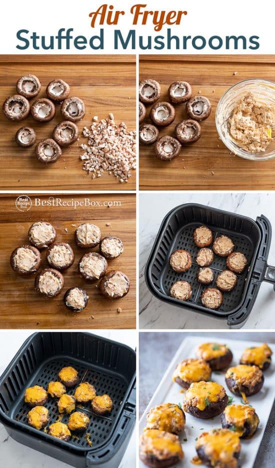 Air Fried Stuffed Mushrooms Recipe in the Air Fryer step by step