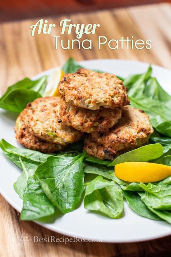 Air Fryer Tuna Patties recipe on a plate