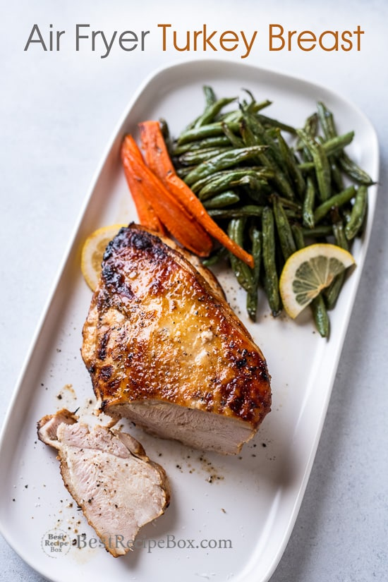 Air Fried Turkey Breast Recipe in the Air Fryer with Lemon Pepper or Herbs on a plate
