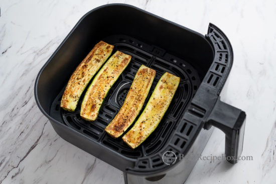 Healthy zucchini strips cooked in air fryer