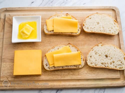 Bread with cheese for grilled cheese sandwich
