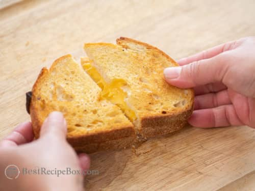 Remove toothpick from air fryer grilled cheese sandwich