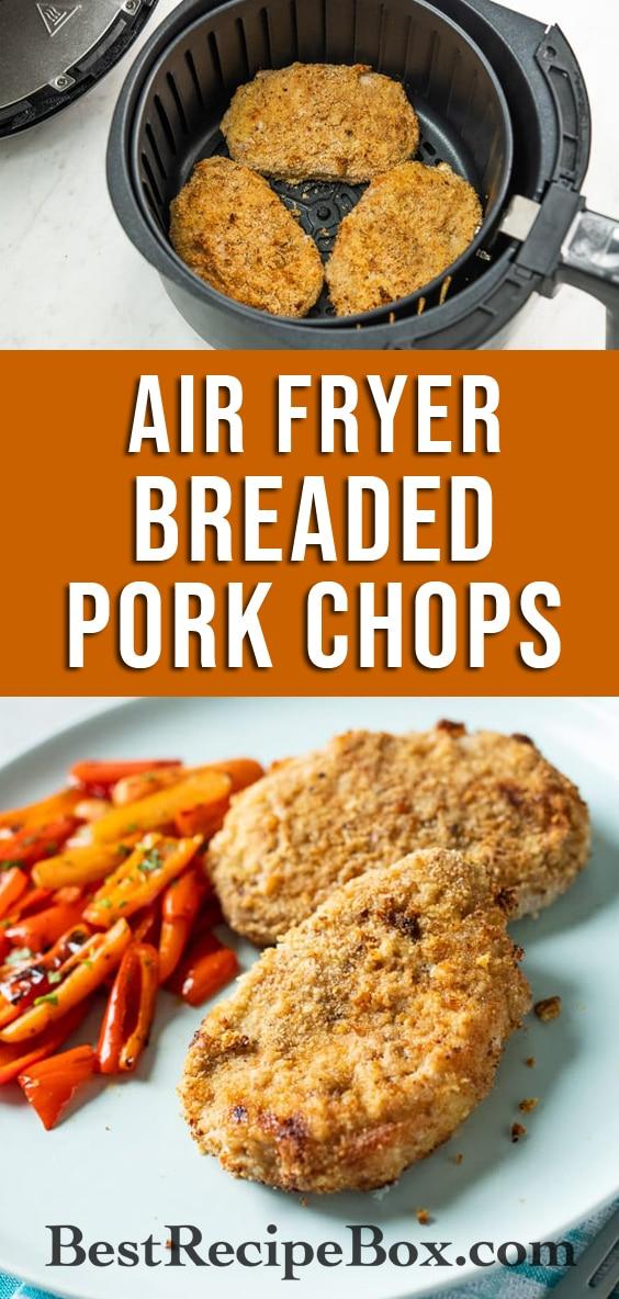 Crispy Air Fryer Breaded Pork Chops Recipe is the best Air Fried Crusted Pork Chop dinner! | @bestrecipebox