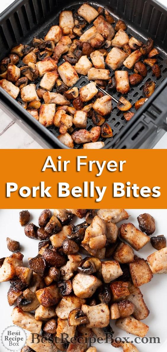 Air Fryer Pork Bites with Mushrooms   @BestRecipeBox