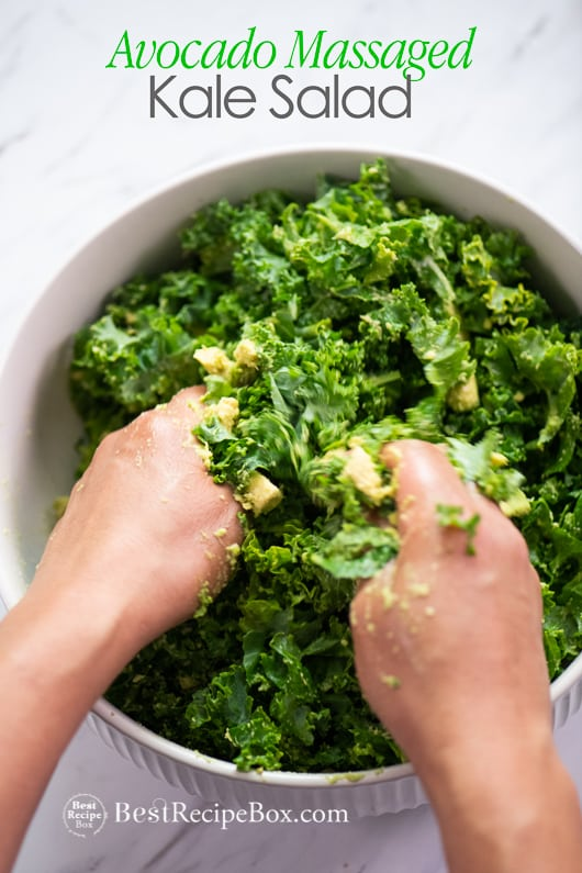 Avocado Massaged Kale Salad and Healthy Kale Salad @bestrecipebox