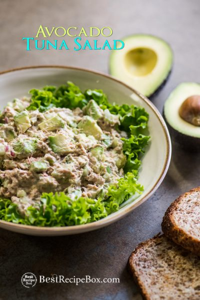Avocado Tuna Salad Recipe in a bowl