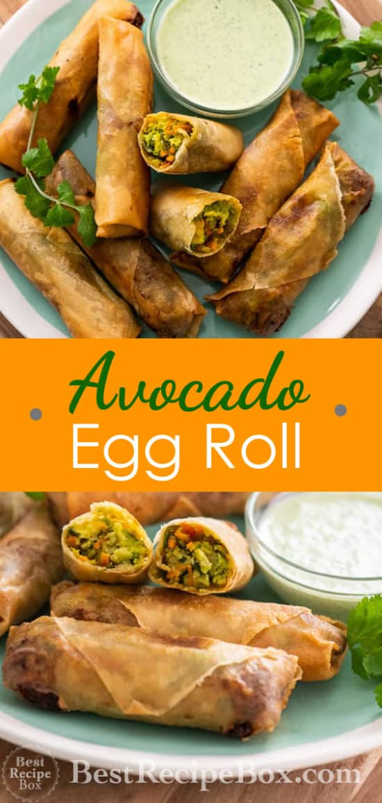 Avocado Egg Rolls Recipe or Guacamole Egg rolls Recipe @bestrecipebox