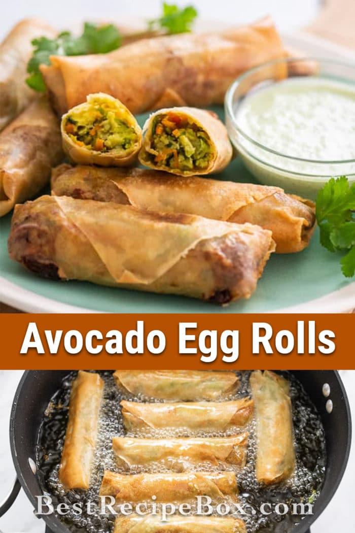 Avocado Egg Rolls Recipe or Guacamole Egg rolls Recipe @bestrecipebox