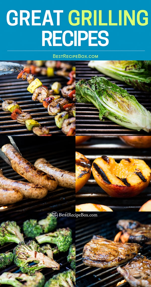 Grilled sausages, skewers and vegetables on the grill step by step