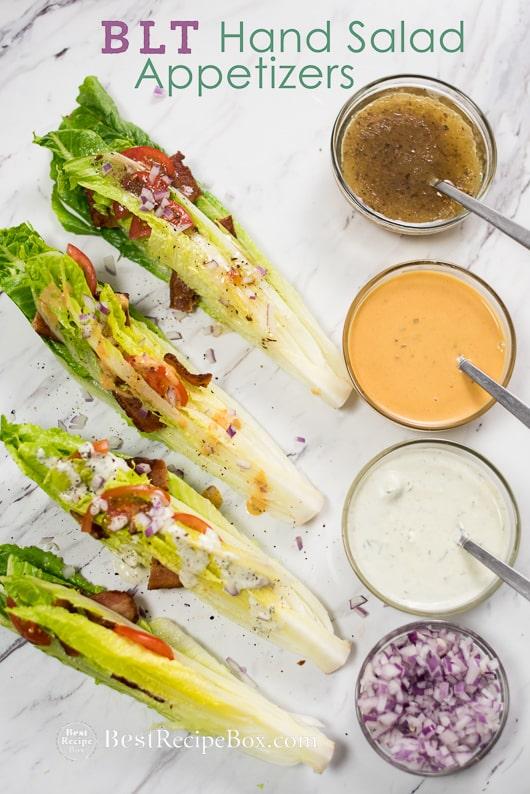 Forkless BLT Salad Recipe aka Hand Salad with Bacon, Lettuce, Tomato | @bestrecipebox