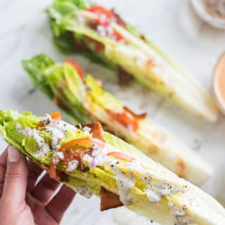 Forkless BLT Salad Recipe aka Hand Salad with Bacon, Lettuce, Tomato | @bestrecipebox