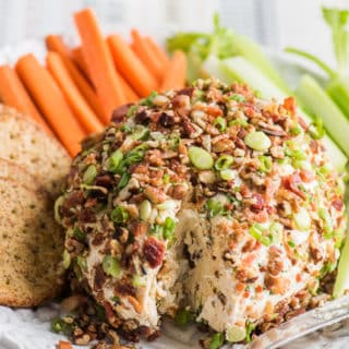 Bacon Cheddar Ranch Cheese Ball Appetizer for Game Day Holidays | @bestrecipebox