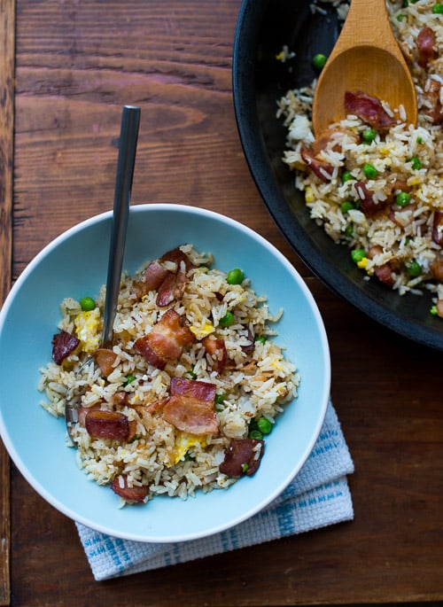 Bacon Lovers Fried Rice Recipe loaded with bacon in plate