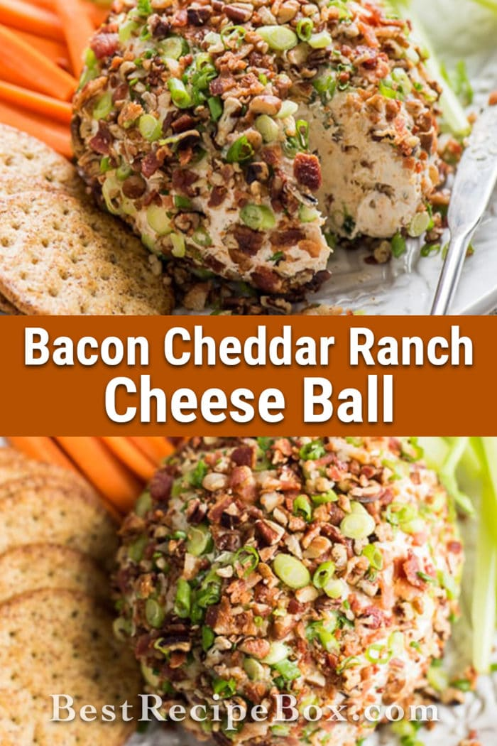 Bacon Cheddar Ranch Cheese Ball Appetizer for Game Day Holidays   @bestrecipebox