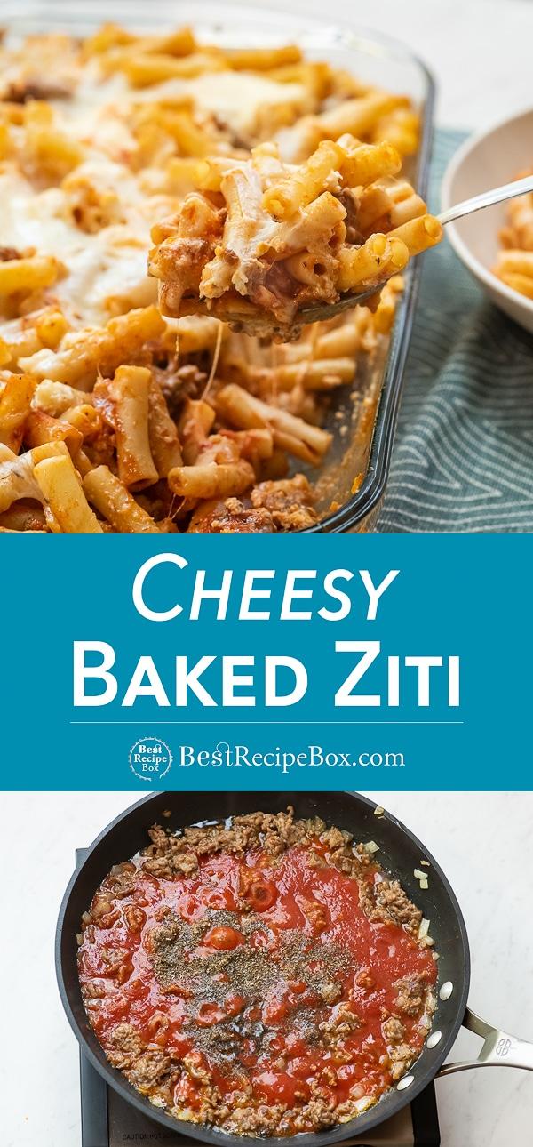 dEasy Baked Ziti Recipe : cheesy pasta casserole with 3 cheeses | BestRecipeBox.com