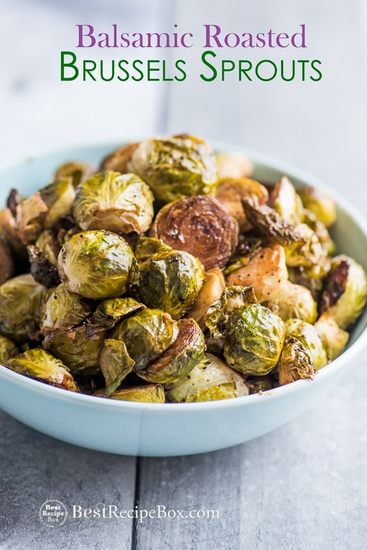 Balsamic Roasted Brussels Sprouts Recipe in a bowl