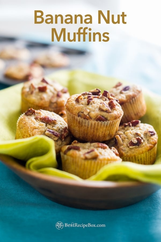 Best Banana Nut Muffins Recipe on wooden bowl