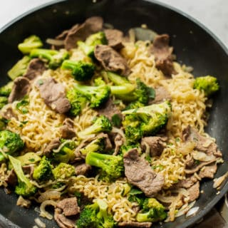 Beef and Broccoli Noodle Stir Fry Recipe Easy Ramen hack recipe | BestRecipeBox.com