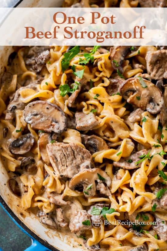 Easy One Pot Beef Stroganoff Recipe in casserole