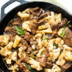 Low carb pan of stir fried beef and cauliflower from bestrecipebox.com