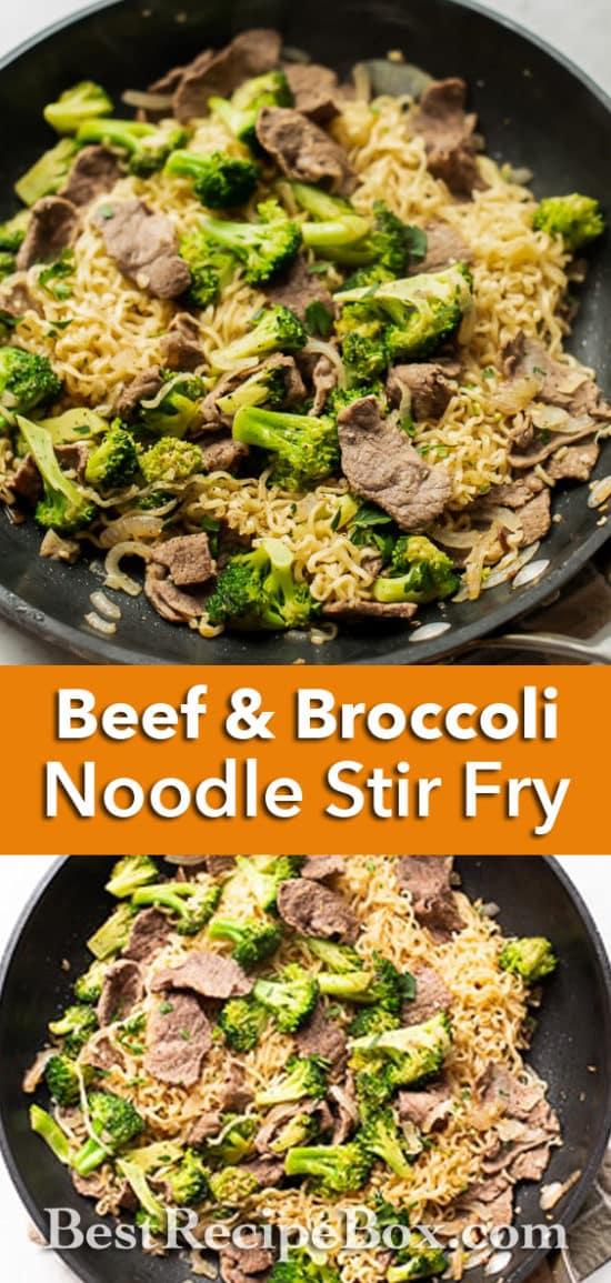 Beef and Broccoli Noodle Stir Fry Recipe Easy Ramen hack recipe | BestRecipeBox.com