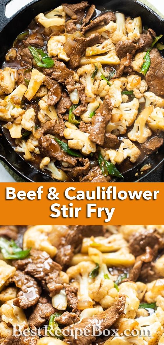 Skillet Beef and Cauliflower Stir Fry Recipe | BestRecipebox.com