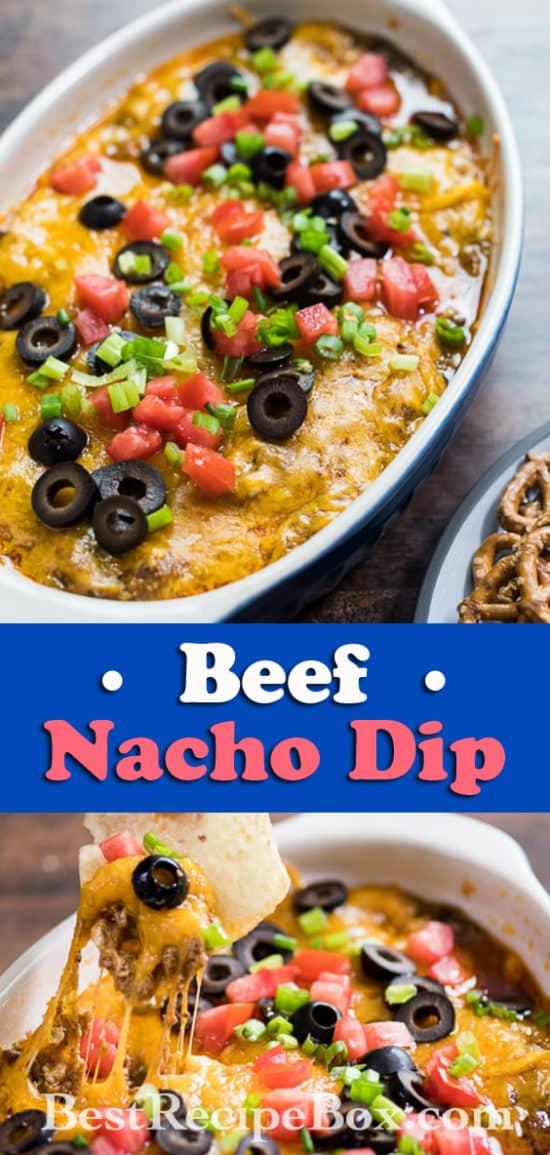 Beef Nacho Cheese Dip Best Appetizer Recipe   @bestrecipebox