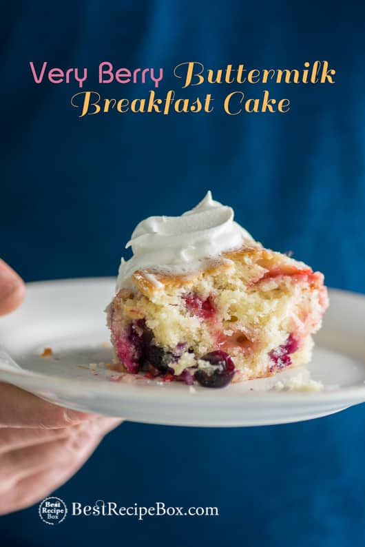 Very Berry Buttermilk Breakfast Cake with Blueberries on a plate