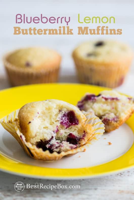 Blueberry Lemon Buttermilk Muffins for Breakfast or Brunch | @bestrecipebox