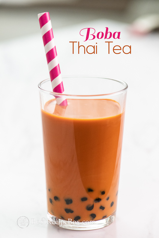 Thai Bubble Tea or Boba Thai Tea Recipe is a refreshing sweet drink! @bestrecipebox