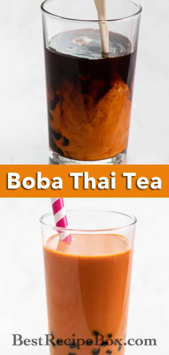 Boba Thai Tea Recipe or Bubble Thai tea Recipe refreshing sweet drink! @bestrecipebox
