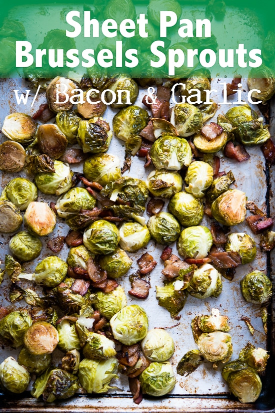 One Pan Sheet Pan Roasted Brussels Sprouts Recipe with Bacon and Garlic | @bestrecipebox